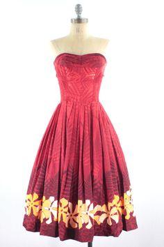 50s Red Hawaiian Dress Alfred Shaheen  by snootieseconds, $394.99