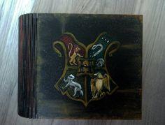 Harry Potter Hogwarts The Coat Of Arms Emblem Box Hand Painted Wooden Box Jewelry box Wizard World Magic Keepsake Box Art Rowling JaN:)Art :: JaN:) Art