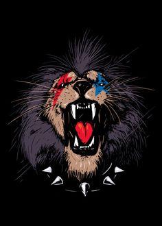 Displate Poster Rock & Roar lion #rocker #roar #beast #music #band #rock #cats #wildcats