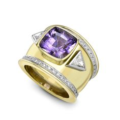 One of Theo Fennells first designs, the Bombé ring has become an icon of the brand. This specific piece includes a 4.90ct tourmaline in a summery shade of lavender, as well as 1.07ct of diamonds, all set in white and yellow gold.