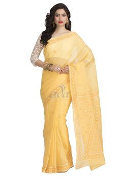 Ada Hand Embroidered Yellow Cotton Lucknow Chikan Saree With Blouse - A156821 Price Rs.2,190.00 #Ada_Chikan #lucknow chikan work #lucknowi hand embroidery #silk chikankari saree #lucknowi cotton sarees #tepchi chikankari saree #white chikankari dress material #yellow chikan saree #lucknow chikan saree price #ada chikankari #lakhnavi dress #for women