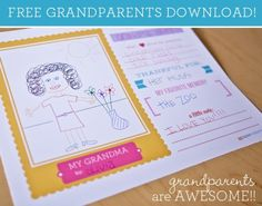 Grandparents Day Craft: Free Printable - Somewhat Simple Grandparents Day Activities, Grandparents Day Cards, National Grandparents Day, Quotes Girlfriend, Daddy, Holiday Activities, Kid Activities, Holiday Crafts, Holiday Ideas