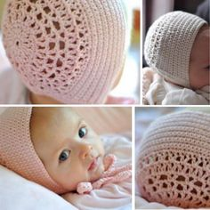 Crochet Baby Hats Crochet For Children: Blessing Day Bonnet - Free Pattern. Crochet Baby Mittens, Crochet Scarf Easy, Crochet Baby Blanket Beginner, Crochet Baby Bonnet, Crochet Bebe, Baby Hats Knitting, Baby Girl Crochet, Newborn Crochet, Crochet Baby Booties