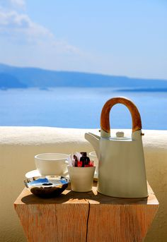 Tea with a view in Santorini, Greece