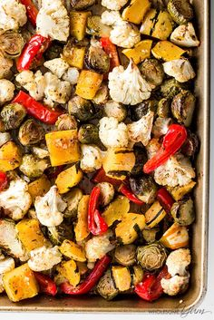 Easy Truffle Roasted Low Carb Veggies (Paleo, Gluten-free) - These easy low carb veggies are roasted with truffle salt, herbs, and spices. It's the perfect low carb recipe for seasonal fall and winter vegetables.