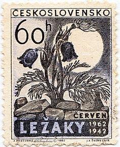 Czechoslovakia.  FLOWERS GROWING FROM RUINS OF LEZAKY.  Scott 1119 A425, Issued 1962, 69. /ldb.