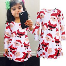Christmas Kids Girl Dress Infant Baby santa claus pattern Dress Winter Long Sleeve Little girls Clothes 3-7Y(China (Mainland))