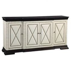 """4-door breakfront server with linen upholstery and nailhead trim.   Product: ServerConstruction Material: Wood and linenColor: Ivory and blackFeatures:  Nailhead trimFour doors Dimensions: 39"""" H x 74"""" W x 18"""" D"""