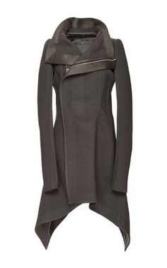 Known for grunge-meets-glamour designs characterized by body-con leather jackets and a monochromatic palette, the avant-garde aesthete has garnered quite the fashion set following. Skimming the body in a fit and flare silhouette, this **Rick Owens** weaves impeccably soft virgin wool into a knee-length take on the biker coat, delivering breathtaking sophistication with an edge.