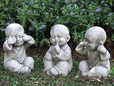 TIBETAN MONKS Perfectly detailed buddha garden statue.