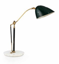 Angelo Lelli; #12401 Marble, Brass and Enameled Metal Table Lamp for Arredoluce, 1950s.