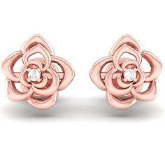 31c8dc379 0.02 Carat (ctw) 14K Gold Round Cut White Diamond Ladies Flower Shaped Stud  Earrings