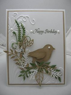 Happy Birthday! by scrapperdown - at Splitcoaststampers  Tim Holtz caged bird, Cheery Lynn, Marianne design dies, Viva ice white pearl pen, Sizzix embossing folder