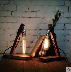 Vintage Edison lâmpada De Mesa De madeira / Mesa De madeira Tafellamp De lâmpadas para sala De estar, Lâmpadas Abajur Luminaria De Mesa