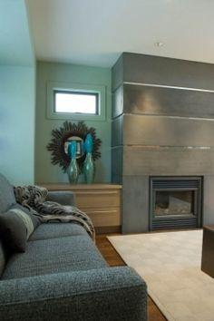 Custom Concrete Fireplace With Stainless Steel Inset Strips Built Ins Sofa Accessories