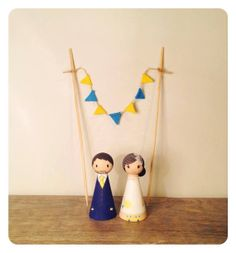 Wedding Wooden Peg Doll Cake Topper with Bunting  by littledollsUK