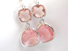 Pink Earrings Peach Earrings Coral Champagne Silver by mlejewelry