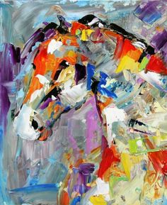 Abstract Horse Painting White Mare by Texas Equine Artist Laurie Pace, painting by artist Laurie Justus Pace