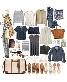 week long trip: perfect! | Or, for me, a 3-week trip wardrobe if I trade out the shorts for another skirt; take out a pr of shoes; and trade one of the sandals for cool sneakers.