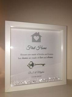 This beautiful frame can be fully personalised, the following can be changed: - New Home, First Home or Our First Home etc - The phrase.. Which is currently Houses are made of bricks and beams but homes are made of love and dreams - Name of recipient(s) - Date of moving day! There are loose diamontes scattered in the bottom which add a gorgeous sparkle to this special message. A different colour scheme can be applied as per lilac example, however the frame may be delayed due to the crystal…