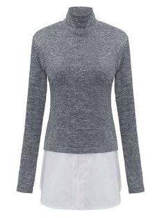 Elegant Women Chiffon Patchwork Long Sleeve High Collar T-Shirt