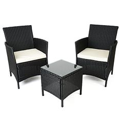 Black Rattan Table and Chairs Garden Furniture Set by Palm Springs
