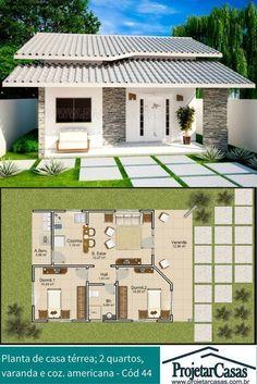 Projeto de casa térrea, podendo ser construído em terreno mínimo de (10x17)m. #modelosdecasasterrea #fachadasmodernaschicas