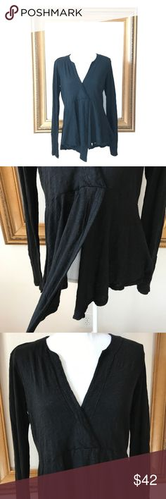 NWT Anthro L of Center blk asymmetric tee blouse Fabulous basic piece for your capsule wardrobe! A must have! Super soft and comfy. Thin material. 19 inches armpit to armpit. 24 inches shoulder to bottom of tee. 21.5 inches armpit to end of sleeve. Anthropologie Tops Blouses