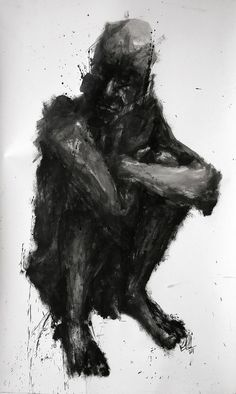 Just waiting.  (Khalid Khan.Untitled. Acrylic on paper)