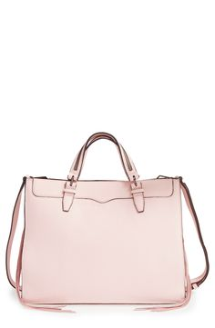 Absolutely adoring the pale blush color of this tote from Rebecca Minkoff! Painted edges and zipper details with trailing tassels update the clean, classic silhouette.