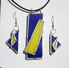 Stained Glass Pendant and Earrings Modern by charlottechamplin