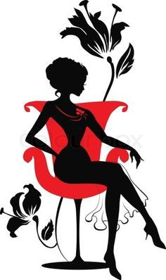 Vector of 'Doodle graphic silhouette of a woman on a armchair'