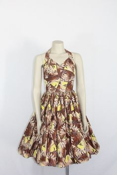 1950s Hawaiian Dress  Vintage Halter Brown and Yellow Bamboo and Floral  by VintageFrocksOfFancy, $225.00