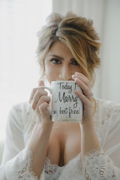 Bride with Coffee Mug www.andreaeppolitoevents.com Las Vegas Wedding Planner Andrea Eppolito with photos by Stephen Salazar Photography. Luxury wedding at Paiute Golf Course.
