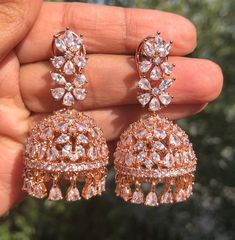 Excited to share this item from my shop: Rose Gold Diamond Jhumki/ Small Jhumka/ CZ Jhumka/ Indian Jewelry/ Pakistani Jewelry/ Indian Earrings/ American Diamond Indian Jewelry Earrings, Indian Jewelry Sets, Fancy Jewellery, Jewelry Design Earrings, Gold Earrings Designs, Ear Jewelry, Stylish Jewelry, Unique Earrings, Wedding Jewelry