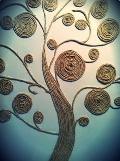 Beautiful Rope twined Tree as a Wall Art. This is another creative idea to use the leftover rope to twine in the shape of the tree.It can be a wonderful wall art for your home decor.twine tree--why not use scrap fabric twine?Art twine tree - I would paint Tree Wall Art, Diy Wall Art, Diy Art, Twine Crafts, Diy And Crafts, Arts And Crafts, Hemp Crafts, Recycled Crafts, Decor Crafts