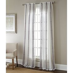 Sherry Kline Home Collection Vertical Vines Rod Pocket Embroidered Sheer Window Curtain Panel