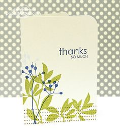 Add stamps, corner the card, add sentiment and then run a roller stamp design on the bottom.  Pretty and Simple!