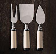 Natural White Bone 3-Piece Cheese Knives Set