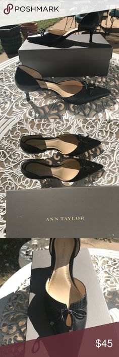 Ann Taylor Black Leather Pointed Heels Size 6M Ann Taylor black leather heels in great shape w/box. Only wore a handful of times and the only wear is on the bottom of the shoes as pictured. Heel length is 2 1/4 inches, and the length of the shoe from heel to point on toe is 10.5 inches. Ann Taylor Shoes Heels