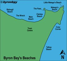Map of Byron Bay 's beaches