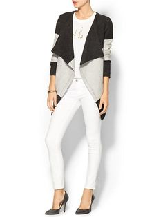 I like this for some reason.  Cute striped jacket.  Color block style in charcoal and gray.  Like.
