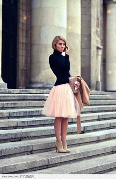 tulle skirt and turtleneck top