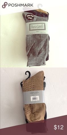 Marco Cavelli multi 3 pack of Men's socks-NWT! Marco Cavelli multi 3 pack of Men's socks-NWT! Material is 97% polyester/3% spandex. Fits a sock size 10-13/ shoe size 7-12. You get 3 different colors: tan and maroon/ black and blue/ gray and black. I cannot open the package but can take close ups if requested. marco Cavelli Underwear & Socks