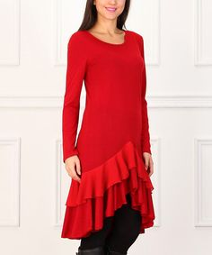 Loving this Red Ruffle Hi-Low Dress on #zulily! #zulilyfinds($40)