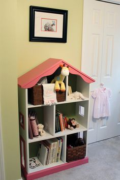 First it's a bookshelf, then it's a dollhouse.  Genius!