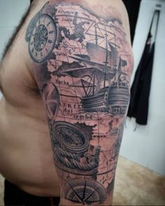 Nautical Half Sleeve Tattoo by Fido