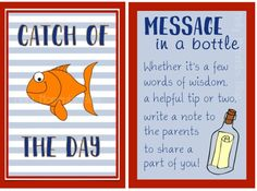 Nautical Themed Party Food Tent - perfect place cards for the snack table! Catch of the Day can be used for a birthday party. Message in a bottle is perfect for a baby shower! Find the printables at Melly Moments Blog