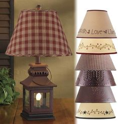 Iron Lantern Lamp with Night Light, Your Choice of Shade, and 2 Bulbs Watt) Included. Black Iron Lantern Lamp H x Square. Lantern Lamp, Lanterns, Primitive Lamps, Metal Stars, Lamp Shades, Night Light, Iron, Country, Bulbs