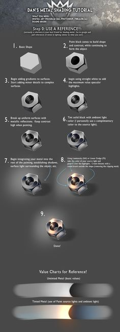 Metal Shading Tutorial by DanSyron metallic drawing illustration resource tool how to tutorial instructions | Create your own roleplaying game material w/ RPG Bard: www.rpgbard.com | Writing inspiration for Dungeons and Dragons DND D&D Pathfinder PFRPG Warhammer 40k Star Wars Shadowrun Call of Cthulhu Lord of the Rings LoTR + d20 fantasy science fiction scifi horror design | Not Trusty Sword art: click artwork for source